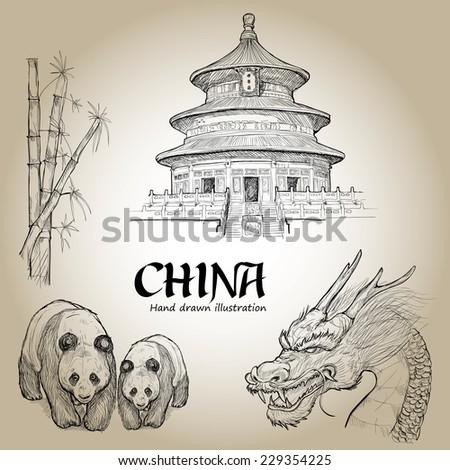 hand drawn  set of china
