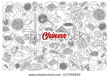 hand drawn set of chinese food