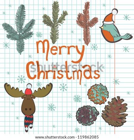 Hand drawn set of Christmas elements. Notebook doodles with lettering, bird, moose, pine cones, fir tree branches and snowflakes. Vector Illustration. Design elements on squared notebook paper.