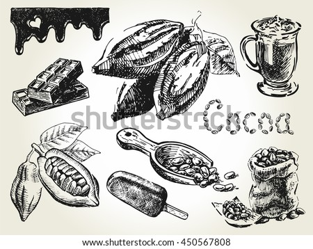 hand drawn set of cocoa