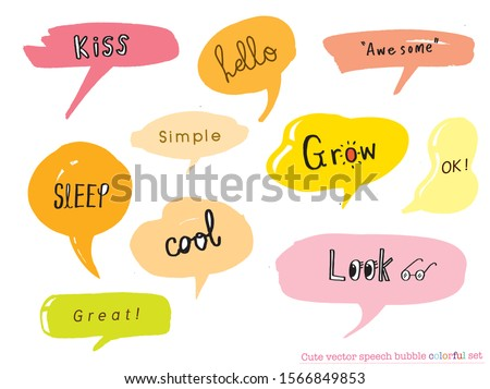 Hand drawn set of Colorful speech bubbles with dialog words,Vector bubbles speech doodle set