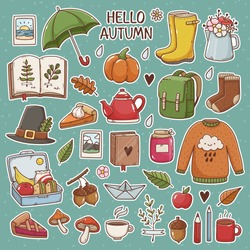 Hand drawn set of cute autumn pictures: rubber boots, book, cup of tea, sweater, umbrella, pie, apple, mushrooms, leaves, flowers etc. Isolated icons, stickers