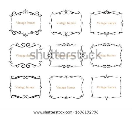 Hand drawn set of decorative frames, borders, page decoration calligraphic design elements collection. vintage vector illustration