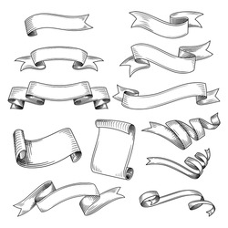 Hand drawn set of different ribbons. Design elements for greeting cards, banners, invitations. Sketch, vector illustration.