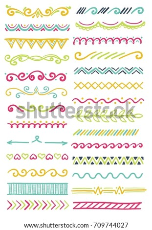 Hand drawn set of doodle border for card, banner design and frame decoration. Ink line sketch style vector illustration. Set of floral ornament, arrow, wave and other decoration elements.