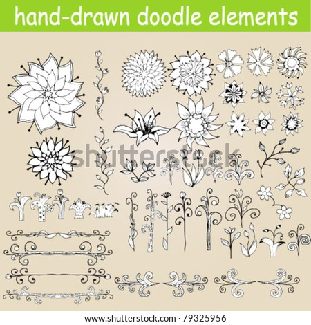 Hand-drawn set of doodles, flowers, monograms and other design elements