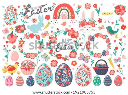 Hand drawn set of Easter eggs, chicken, rabbit, bunny, chick in eggshell, flowers, butterfly, wreaths, baskets, carrots, rainbow, hearts, birds, leaves, stars, text. Happy Easter holiday illustration Stockfoto ©