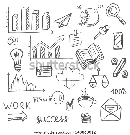 Hand drawn set of economic, smm and seo symbols. Perfect for banner, poster, background and web-sites. Made in vector.