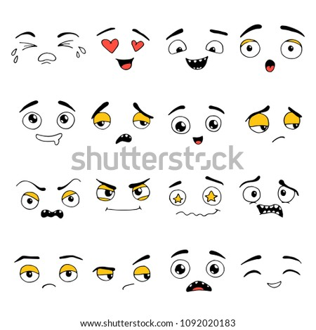 Hand drawn set of Emoji. Different face emotion: smile, sad, cry, happy, surprise, angry. Emoticon elements for your icon, web, kids design drawn by pen. Vector illustration doodle sketch style.  #1092020183