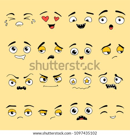 Hand drawn set of Emoji. Different face emotion: smile, sad, cry, happy, surprise, angry. Emoticon elements for your icon, web, kids design drawn by pen. Vector illustration doodle sketch style.  #1097435102