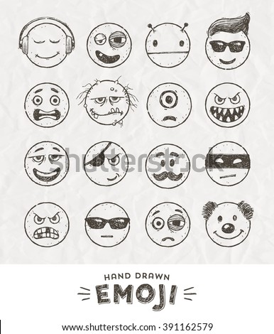 hand drawn set of emoticons