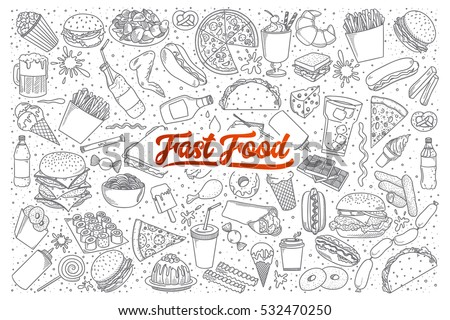 hand drawn set of fast food