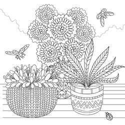 Hand drawn set of flower pots. Coloring page for adults. Ornamental plants with ladybugs. Vector outline illustration with doodle and zentagle elements for coloring books, print, relaxing at home.