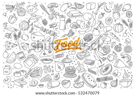 Hand drawn set of healthy food ingredient doodles with lettering in vector #532470079