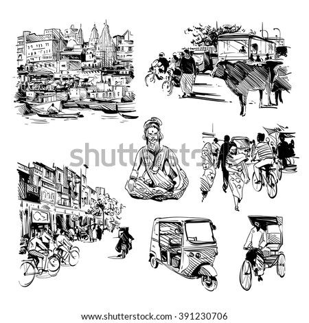 Hand drawn set of india life. Vector illustration