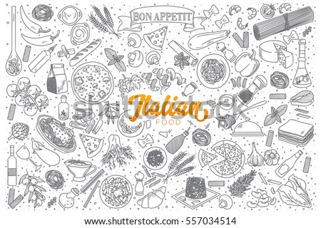 hand drawn set of italian food