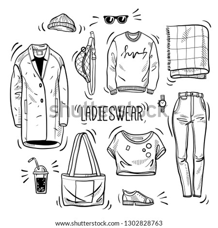 Hand drawn set of ladies wear sketches: t-shirt, overcoat, sweatshirt, bag, scarf, jeans, boots and accessories. Vector isolated outline on white background