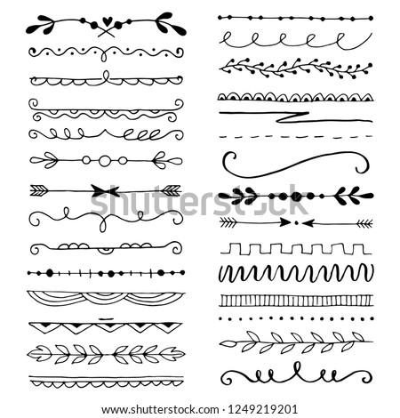 Hand Drawn Ink Border Set Download Free Vector Art Stock Graphics