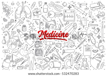 Hand drawn set of medicine doodles with red lettering in vector