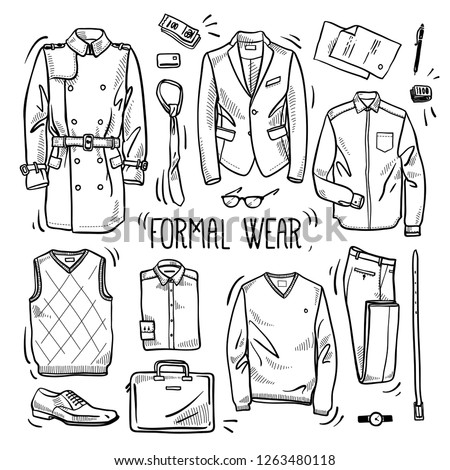 Hand drawn set of men's formal style wear sketches: shirts, jumper, pants, jacket, waist, coat, boots, watches, tie, belt and accessories. Vector isolated outline