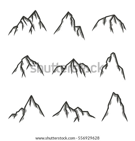 hand drawn set of mountains pen graphic design elements for emblems