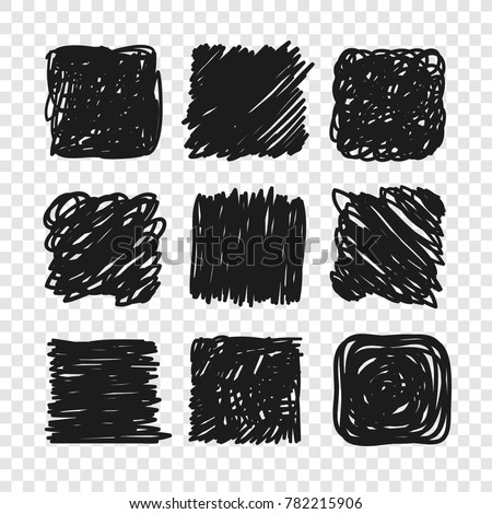 Hand drawn set of objects for design use. Black Vector doodle squares on transparent background.  Abstract pencil drawing. Artistic illustration grunge elements