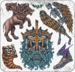 Hand-drawn set of old school greece mythology theme tattoos.