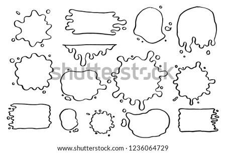 Hand drawn set of paint splatter and blob splash with different shapes. Cut isolated vector illustration for your stickers, label, banner, icon design. Blob elements drawn by ink brush-pen.