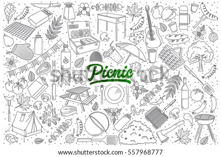 hand drawn set of picnic