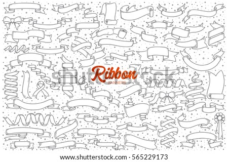 Hand drawn set of ribbon banners doodles with red lettering in vector