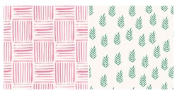 Hand drawn set of scandinavian cards. Patterns with geometric lines and herbs.