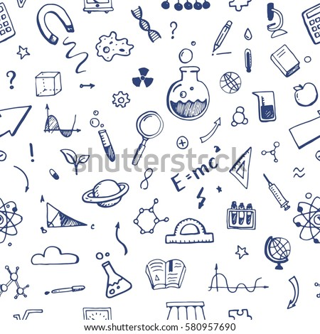 Hand drawn set of science elements seamless pattern. Background with atom, chemical molecule, graphic, book, microscope, school doodles. Vector illustration.