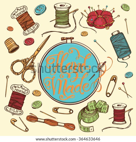 Hand drawn set of sewing tools. Spool of thread, needle, scissors, measuring tape, buttons, thimble, pincushion with colorful pins, tambour with hand written lettering, embroidery thread