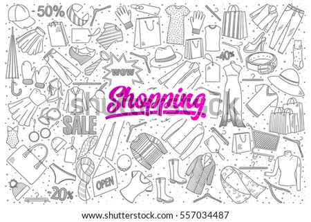 hand drawn set of shopping