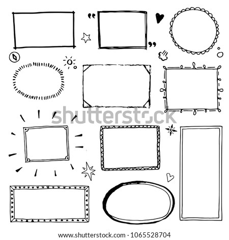 Hand Drawn Set Of Simple Frame And Border With Different Shapes Heart Square