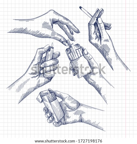 Hand-drawn set of sketches of a woman hand holding a cigarette and burning a cigarette, female hands getting a cigarette out of the cigarette pack, female hand lighting a lighter.