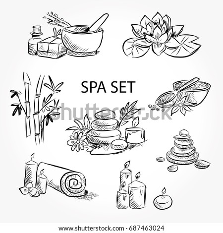 Hand drawn set of spa attributes. Template for design of Spa , Wellness center. Vector illustration.Collection of beauty and spa line drawings