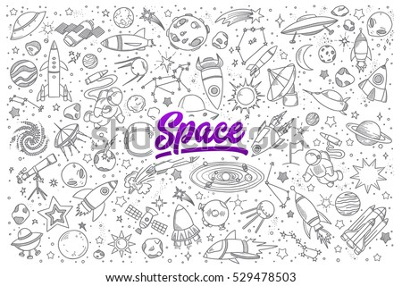 hand drawn set of space objects