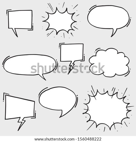 Hand drawn set of speech bubbles. Doodle set element. Vector illustration.