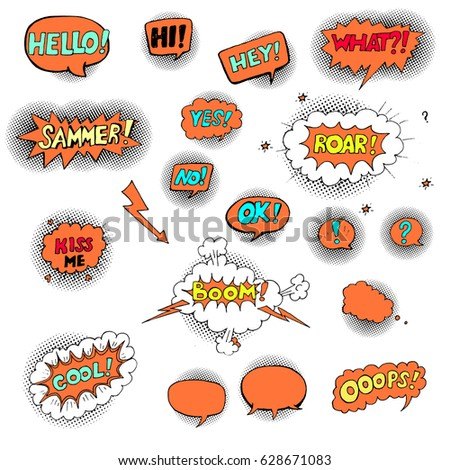 Hand drawn set of speech bubbles with dialog words: Hello, hi, Ok, Summer, Cool, Ooops, Kiss #628671083