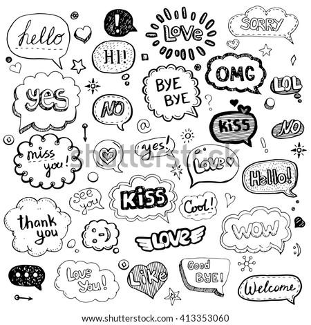 hand drawn set of speech