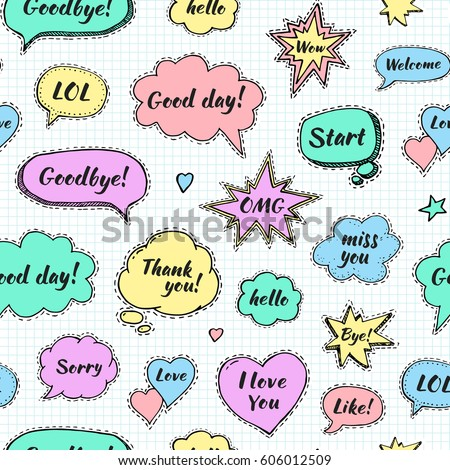 Hand drawn set of speech bubbles with dialog words: Hi, Love, Sorry, Welcome, Bye. Vector seamless pattern. Endless abstract background #606012509