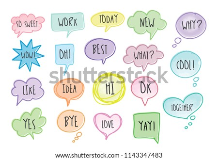 Hand drawn set of speech bubbles with short messages. doodle set #1143347483