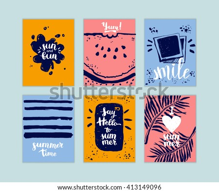 hand drawn set of summer cards