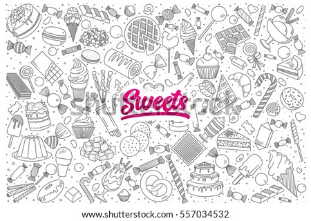 Hand drawn set of sweets doodles with bright lettering in vector ストックフォト ©