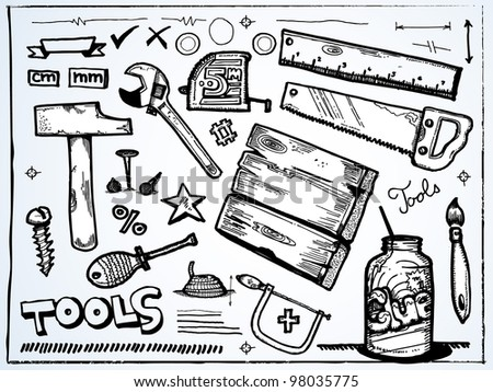Hand drawn set of tools for Men