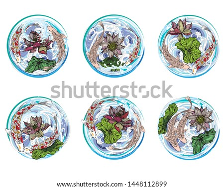 Hand-drawn set of 6 vector koi fish, lotus flowers and circular leaves in a water wave for a tattooed background, media composed of vowels.Japanese style stripes, advertising media design.