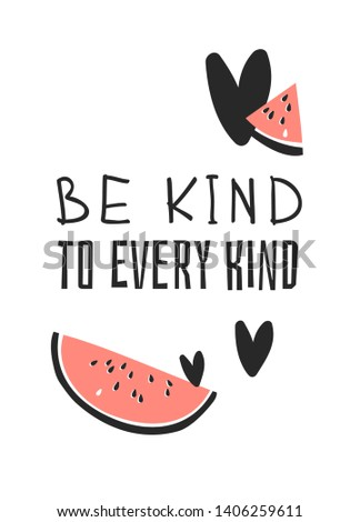 Hand drawn set of vegetables, fruits and eco friendly words. Vector artistic doodle drawing food and Vegan quote. Vegetarian illustration and positive text BE KIND TO EVERY KIND
