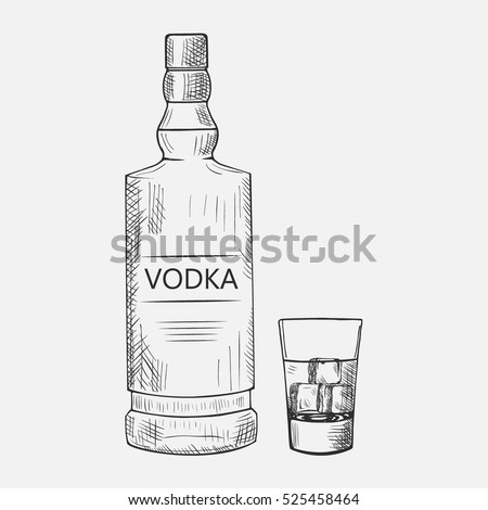 hand drawn set of vodka