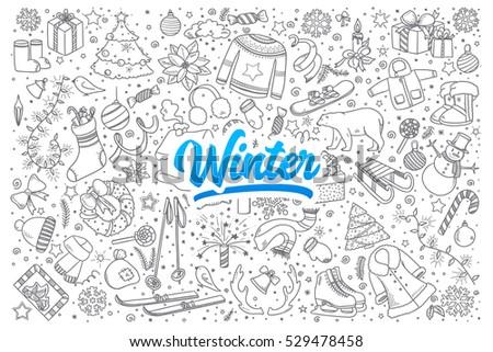 hand drawn set of winter